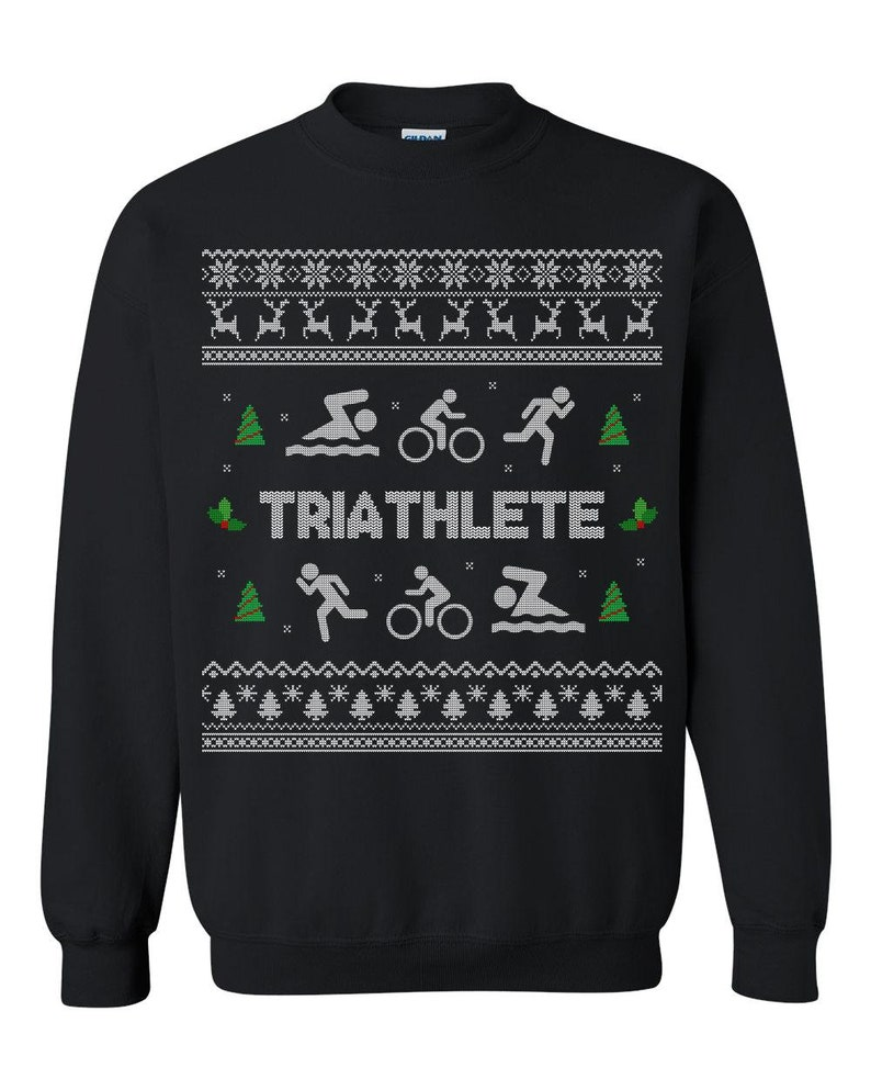 28183e9319f5 Triathlon Ugly Christmas Sweater Ugly Christmas Sweatshirt