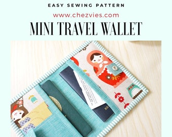 Blossom Passport Travel Wallet PDF Sewing Pattern 3 card slots 2 pockets for ticket and itinerary 1 or 2 passport slots