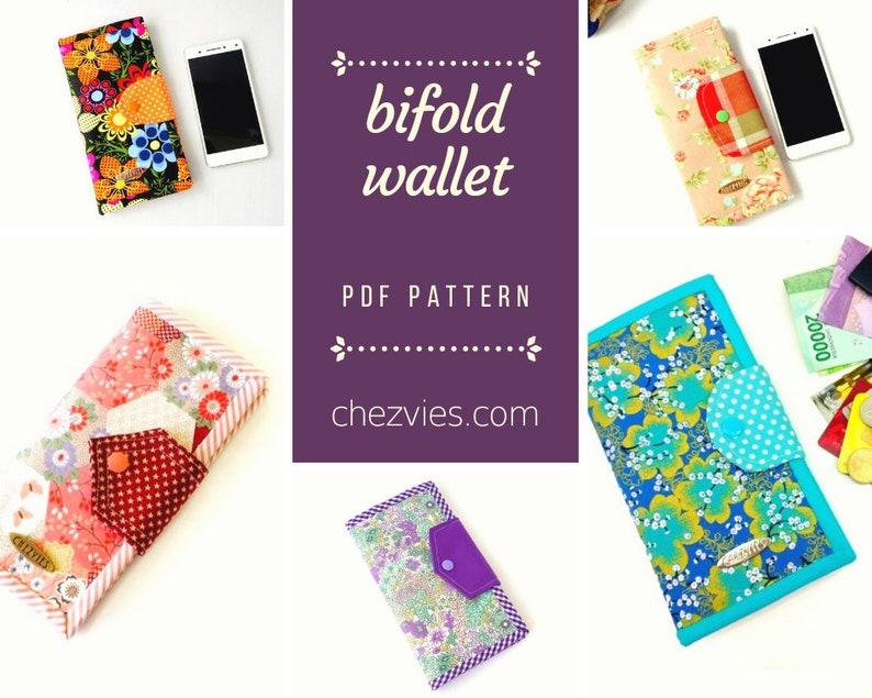 Bifold Wallet Pattern Pdf, Women's Wallet Pattern Tutorial, DIY Fabric  Wallet e-pattern, instant download wallet sewing pattern
