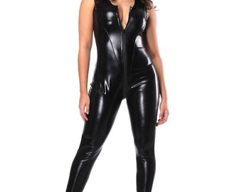 99b2569b4 Cheap Romamce Black Bodysuit Open Crotch Leather Sleeveless