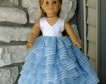 """Wedding Doll Bridesmaid or Prom Long Formal Ruffled Sleeveless Dress for American Girl & 18"""" dolls,Flower Girl Gifts, Special Occasion Dolls"""