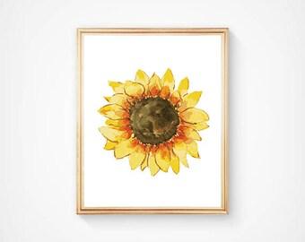 Watercolor Sunflower Print, Flower Wall Art, Mother Nature Art, Free Spirit Art, Yellow Art Print, Hippy Wall Art, 70's Art Print
