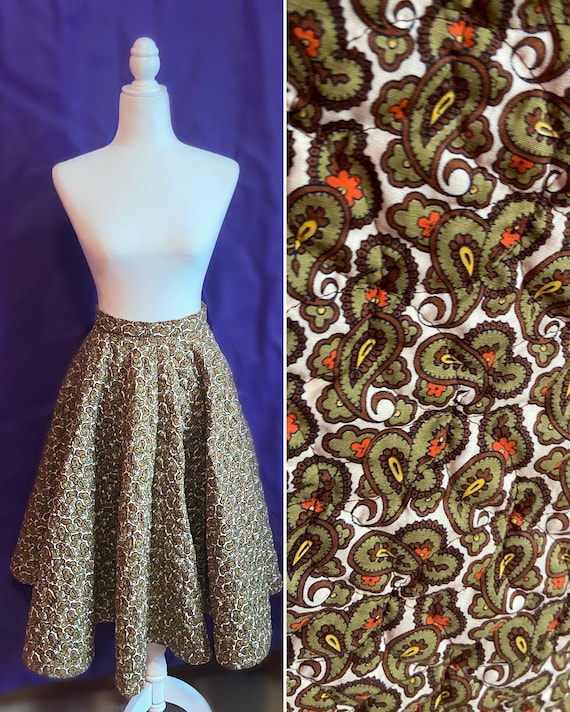 Vintage 60s/70s Quilted Paisley Circle Skirt