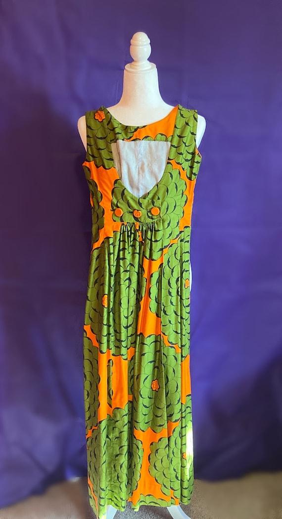 Vintage Groovy 1960s Green & Orange Maxi Dress