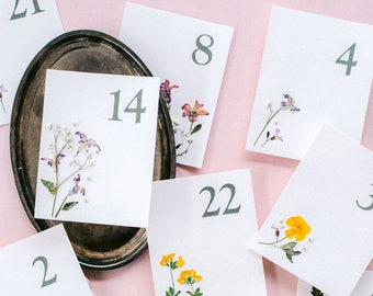 Floral Wedding Table Numbers, Pressed Flowers, Wedding Signs, Table Decorations