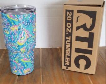 20oz RTIC Lilly P Custom tumbler