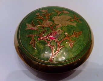 Vintage Solid Brass Trinket box and Lid with Green Enameling and Birds