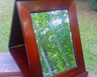 """Vintage Wooden Beveled Fold - up """" Secret Mirror """" From The Bombay Company"""