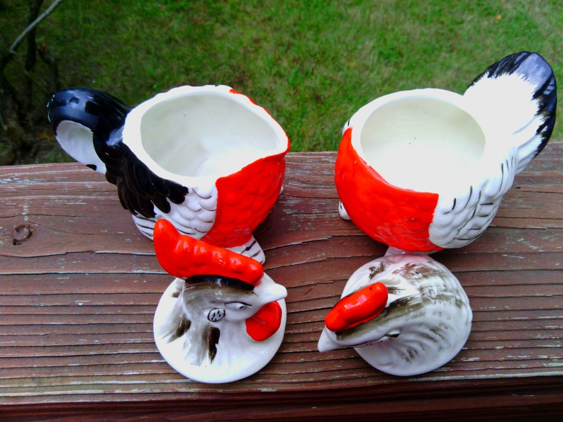 Vintage Pair of Rooster and Hen Salt and Pepper Shakers with Sugar and Creamer BowlsCups