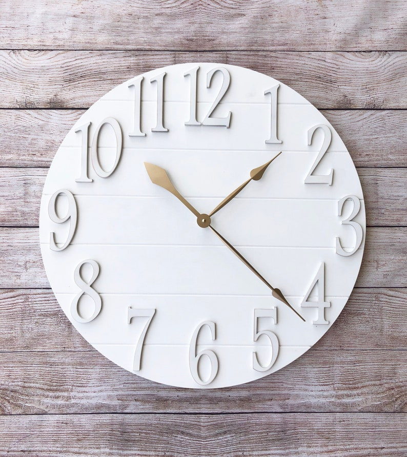 White Large Oversized Farmhouse Wall Clock  24 30 36 inch champagne gold
