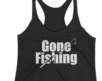 92c014bf58c070 Women s Racerback Tank Gone Fishing