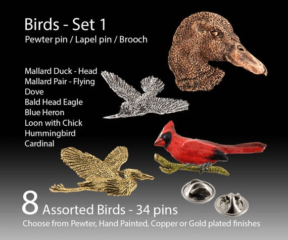 Bird Pin Lapel Pin Brooch. Hand Crafted Pewter Pin. Duck
