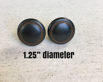 SET OF TWO Antiqued burnished dark brown metal pull handle cupboard pull cabinet knob drawer pull includes screw 1.25 diameter handle