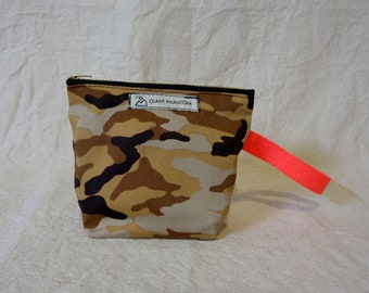 Desert Camo Pouch sale Orange Strap Upcycled Accessory Bag promotion DISCOUNT**Camo Printed Canvas Small Dopp Kit Handmade Toiletry