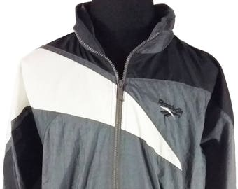 Reebok Mens Windbreaker Jacket Vintage Hip Hop 90s 1990s XL Black Gray White