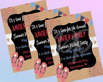 Printable Summer Kickoff/ Memorial Day Invitiation