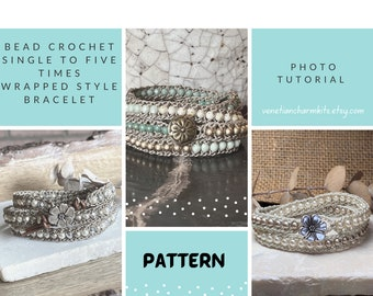 DIY Jewelry Making Pattern Only; Bead Crocheted Wrap Bracelet Pattern; Photo Tutorial; Single to Fives Times Wrap Styles; Original and THIN