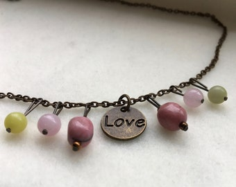 Pink and Green Love Necklace