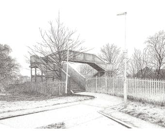 The Bridge - A3 or A4 high quality giclee art print of my pen and ink drawing
