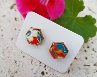 Hexagon Studs Japanese Paper Modern Earrings Flower Earrings Japanese Earrings Origami Paper Studs Washi Resin Earrings Flower Studs