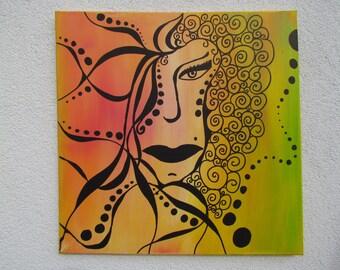 Original MisQue art | Abstract acrylic painting wild Lady #B100063