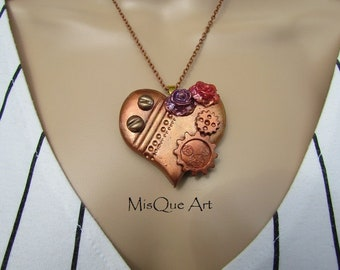 Steampunk necklace heart with Rose copper