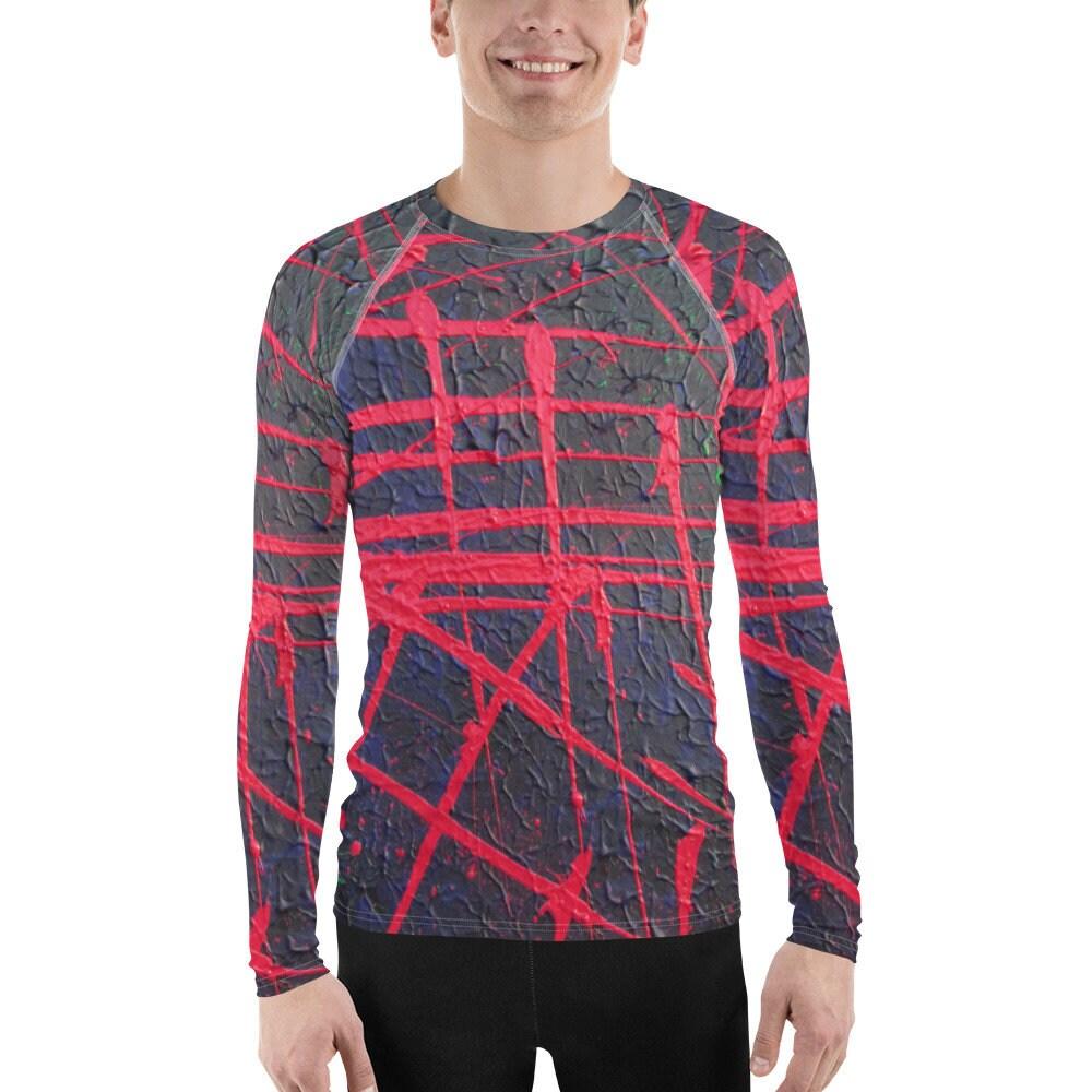 Abstrait rouge de chemise noire de manches manches manches longues de l'éruption garde masculine 3c2604