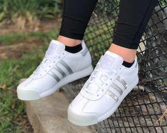 a73973059056c Swarovski Women's Adidas Originals Samoa White Silver Sneakers Blinged Out  With Authentic Clear Swarovski Crystals Custom Bling Adidas Shoes