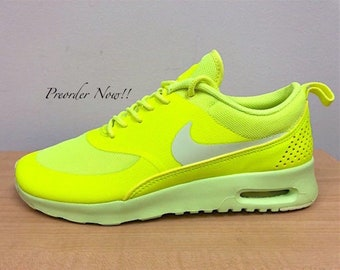 8fee0a583b50 Swarovski Women s Nike Air Max Thea Volt Green Sneakers Blinged Out With  Authentic Clear Swarovski Crystals Custom Bling Nike Shoes