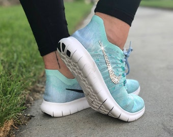 9ce587970ff1 Swarovski Women s Nike New Free Run Flyknit 2017 Blue Sneakers Blinged Out  With Authentic Clear Swarovski Crystals Custom Bling Nike Shoes