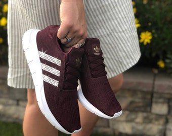 Swarovski Women s Adidas Originals Swift Run Maroon Sneakers Blinged Out  With Authentic Clear Swarovski Crystals Custom Bling Adidas Shoes 3b377610d