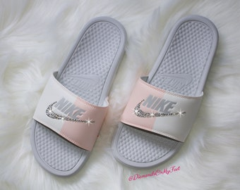 02a17b525 Swarovski Women s Nike Benassi JDI Swoosh Gray   Pink Slides Blinged Out With  Authentic Clear Swarovski Crystals Custom Bling Nike Sandals