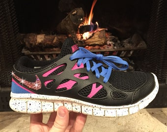 Swarovski Women s Nike Free Run 2 Ext Black Pink   Blue Sneakers Blinged  Out With Authentic Pink Swarovski Crystals Custom Bling Nike Shoes 2fc495e91