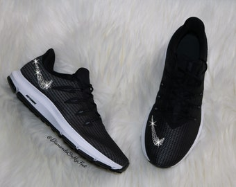 Swarovski Women s Nike Quest Free Run Black   White Sneakers Blinged Out  With Authentic Clear Swarovski Crystals Custom Bling Nike Shoes 7042bea0f