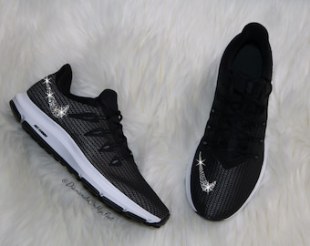 Swarovski Women s Nike Quest Free Run Black   White Sneakers Blinged Out  With Authentic Clear Swarovski Crystals Custom Bling Nike Shoes 89ed060d4