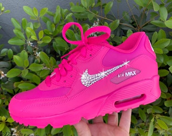 reputable site 1e7fc 98bf5 Swarovski Women s Nike Air Max 90 Fuchsia Pink Sneakers Blinged Out With  Authentic Clear Swarovski Crystals Custom Bling Nike Shoes