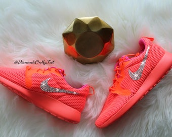 3dd0321bf4370 Swarovski Women s Nike Roshe Run Hyper Breathe Orange Sneakers Blinged Out  With Authentic Clear Swarovski Crystals Custom Bling Nike Shoes