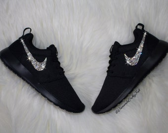 Swarovski Women s Nike Roshe Run Roshe One All Black Sneakers Blinged Out  With Authentic Clear Swarovski Crystals Custom Bling Nike Shoes de380a56c