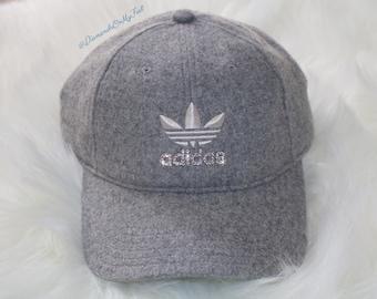 Swarovski Women s Bling Adidas Hat Precurved Strapback Heather Gray Dad Hat  Cap Blinged Out With Swarovski Crystals 5fe4b7ef4
