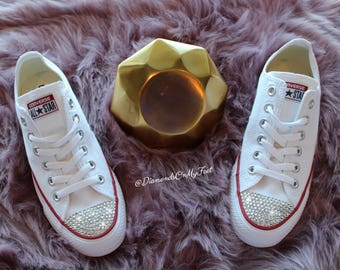 c32c68e11292 Swarovski Women Converse All Star Chuck Taylor White Low Top Sneakers Blinged  Out With Authentic Clear Swarovski Crystals Custom Bling Shoes