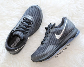 new arrival 9be76 63265 Nike Swarovski femmes Zoom All Out faible 2 Air Max tous hors Blinged  baskets noires avec des cristaux Swarovski clairs Bling personnalisé Nike  chaussures