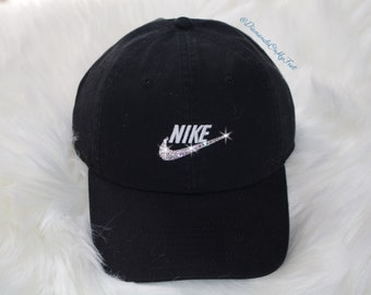 b165e452fb604 Swarovski Women s Bling Nike Hat Sportswear H86 Washed Futura Adjustable  Back Black Cap Blinged Out With Swarovski Crystals