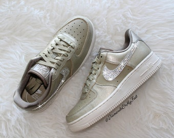 5233b8c6caf3 Swarovski Women s Nike Air Force 1 Gold Bronze Low Top Sneakers Blinged Out  With Authentic Clear Swarovski Crystals Custom Bling Nike Shoes