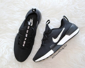 9b80a4265f4b Swarovski Women s Nike Ashin Modern Roshe Run Black Sneakers Blinged Out  With Authentic Clear Swarovski Crystals Custom Bling Nike Shoes