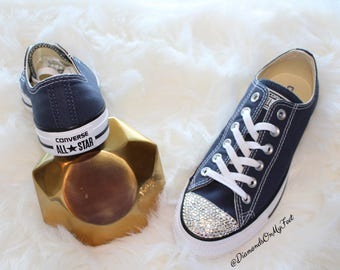 227e12a4a798 Swarovski Women s Converse Chuck Taylor All Star Navy Blue Low Top Sneakers Blinged  Out With Clear Swarovski Crystals Custom Bling Shoes