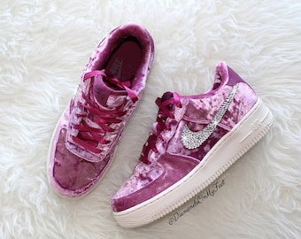 on sale cec35 45520 Swarovski Women s Nike Air Force 1 Purple Velvet Low Sneakers Blinged Out  With Authentic Clear Swarovski Crystals Custom Bling Nike Shoes