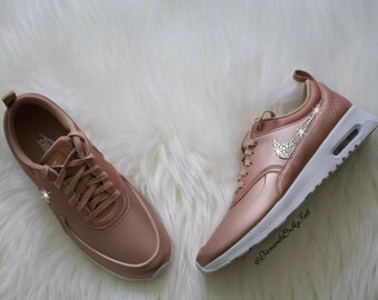 sports shoes a5a1d 915d8 Swarovski Women s Nike Air Max Thea Rose Gold   White Sneakers Blinged Out  With Authentic Clear Swarovski Crystals Custom Bling Nike Shoes