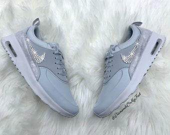 c303d1594a5f Swarovski Women s Nike Air Max Thea Pure Platinum Sneakers Blinged Out With  Authentic Clear Swarovski Crystals Custom Bling Nike Shoes