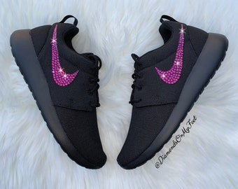 1936ba40256d Swarovski Women s Nike Roshe Run Roshe One All Black Sneakers Blinged Out  With Authentic Swarovski Crystals Custom Bling Nike Shoes