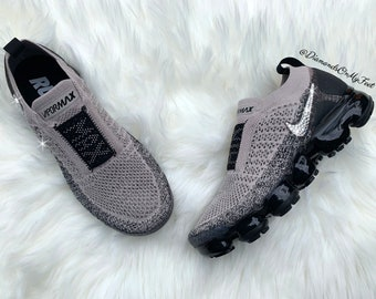 separation shoes 643d3 2c556 Swarovski Women s Nike Air Vapormax Flyknit Moc 2 Grey Sneakers Blinged Out  With Authentic Clear Swarovski Crystals Custom Bling Nike Shoes